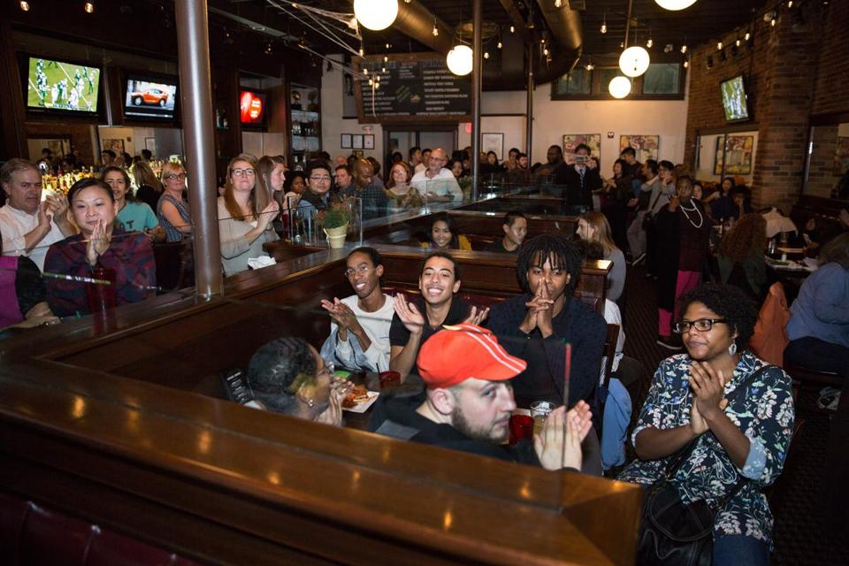 The Fields Corner retail space competition, held at the Blarney Stone in Dorchester, drew a large crowd.